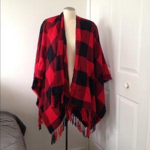 Jackets & Blazers - Plaid poncho